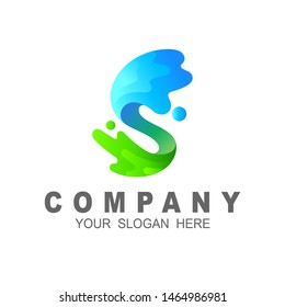 letter s logo with form of water spurts, s logo and water drop design vector, simple icon