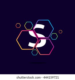 Letter S logo in Hexagon pattern. Colorful vector design for banner, presentation, web page, app icon, card, labels or posters.