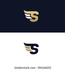 Letter S logo template. Wings design element vector illustration. Corporate branding identity