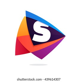 Letter S logo in triangle intersection icon. Multicolor vector letters for app icon, corporate identity, card, labels or posters.