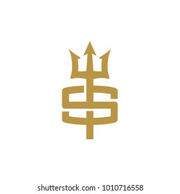 letter s logo with trident shape vector Illustration