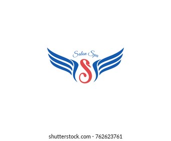 Letter S logo. letter s with wing frame illustration. swan icon