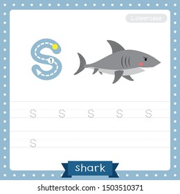 Letter S lowercase cute children colorful zoo and animals ABC alphabet tracing practice worksheet of Shark side view for kids learning English vocabulary and handwriting vector illustration.