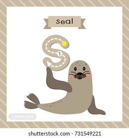 Letter S Lowercase Cute Children Colorful Zoo And Animals ABC Alphabet Tracing Flashcard Of Seal For
