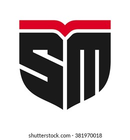 letter s and m logo vector.
