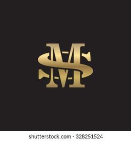 letter S and M monogram golden logo