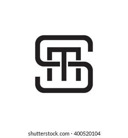 letter S and M monogram square shape logo black