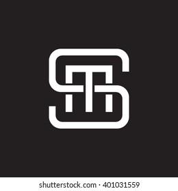 letter S and M monogram square shape logo white black background