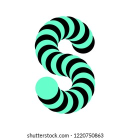 Letter S made of rotating circles