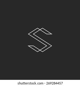 Letter S monogram logo mockup, black and white intersection thin line SS emblem graphic typography design element