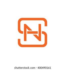 letter S and N monogram square shape logo orange