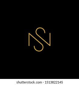 Letter S N SN NS Logo Design Simple Vector