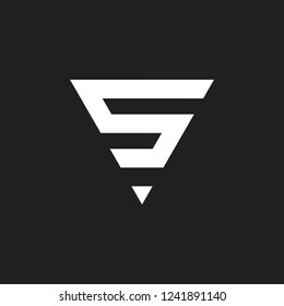 letter s or number 5 triangle logo vector