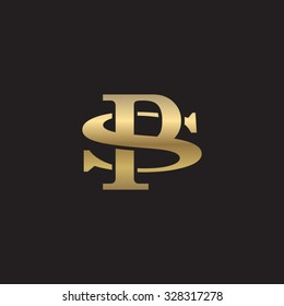 letter S and P monogram golden logo