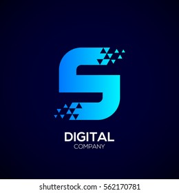 Letter S Pixel logo, Triangle, Blue color, Technology and digital logotype