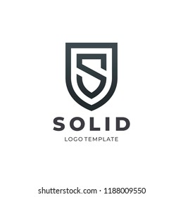 Letter S Protect Shield Logo Icon Template. Vector Emblem. Abstract symbol of security.