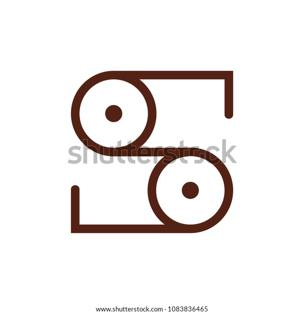 Letter S Pulley Wheel Design Logo Stock Vector (Royalty Free