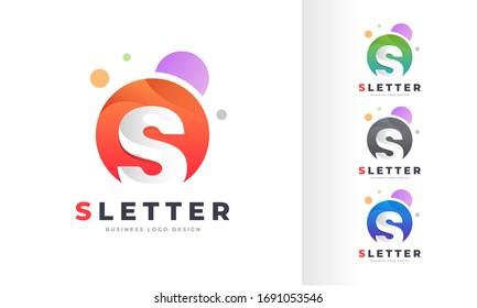Letter S Round Circle Colorful Bubble Logo Design Template
