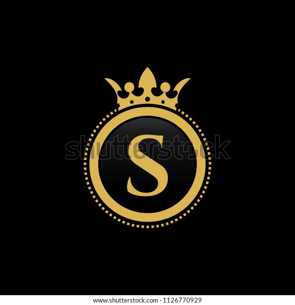 Letter S Royal Crown Luxury Logo Stock Vector (Royalty