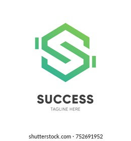 Letter S with shake hand : success logo design