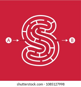 Letter S shape Maze Labyrinth, maze with one way to entrance and one way to exit. Flat design, vector illustration.