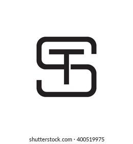 letter S and T monogram square shape logo black