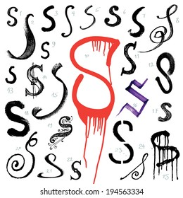 Letter S. Vector alphabet. Hand drawn letters. Letters written with a brush. Spots and blotches.