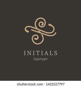 Letter S vector logo. Vintage Insignia and Logotype. Business sign, identity, label, badge initials. Monogram design elements, graceful template. Calligraphic elegant logo design.