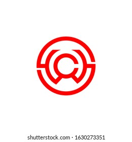 letter s w c symbol circle geometric line logo vector