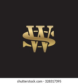 letter S and W monogram golden logo