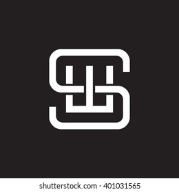 letter S and W monogram square shape logo white black background