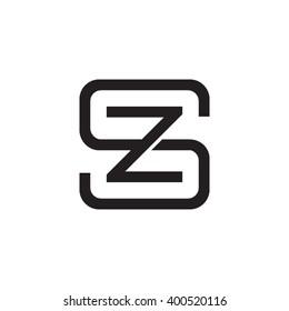 letter S and Z monogram square shape logo black