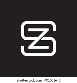 letter S and Z monogram square shape logo white black background
