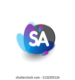 Letter SA logo with colorful splash background, letter combination logo design for creative industry, web, business and company.