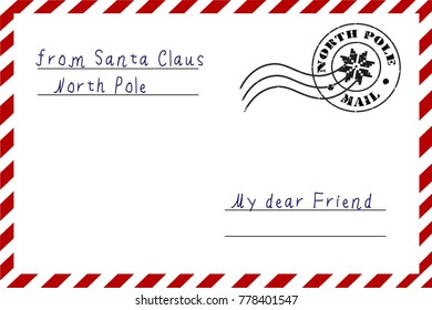 Letter santa claus envelope letter letterhead stock vector royalty letter from santa claus a letter from the north pole postcard in the traditional m4hsunfo