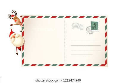 Letter for Santa Claus with Santa and Reindeer on left side of postcard