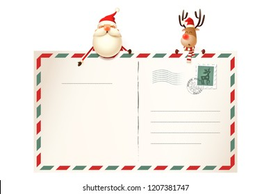 Letter for Santa Claus - Santa and Reinder above card