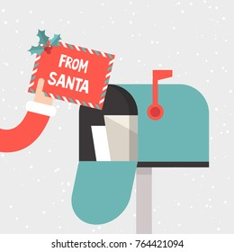 Letter from Santa. Hand holding a decorated envelope. Mailbox. Correspondence. Flat vector illustration, clip art. Xmas. Christmas and New Year