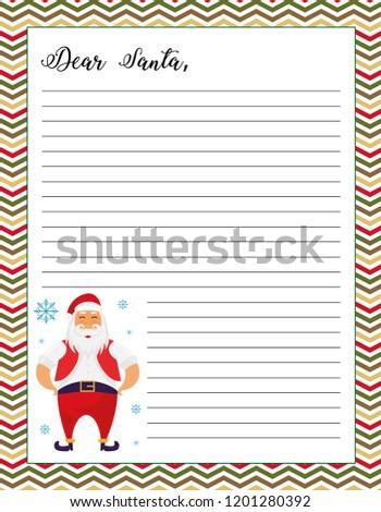 letter santa printable page santa claus stock vector royalty free