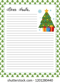 letter to santa template printable page christmas tree with gifts on a festive background