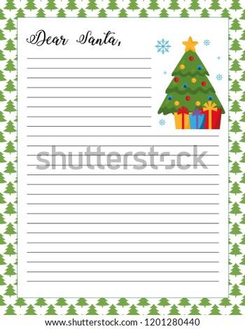 letter santa template printable page christmas stock vector royalty