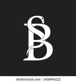 letter sb linked snake design logo vector