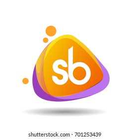 Letter SB logo in triangle splash and colorful background, letter combination logo design for creative industry, web, business and company.