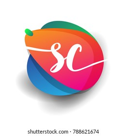 Letter SC logo with colorful splash background, letter combination logo design for creative industry, web, business and company.
