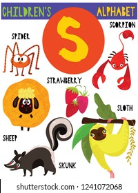 Letter S.Cute children's alphabet with adorable animals and other things.Poster for kids learning English vocabulary.Cartoon vector illustration.