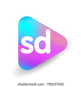 Letter SD logo in triangle shape and colorful background, letter combination logo design for business and company identity.