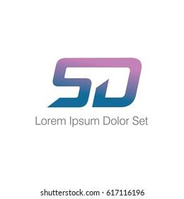 Letter SD logotype design  template
