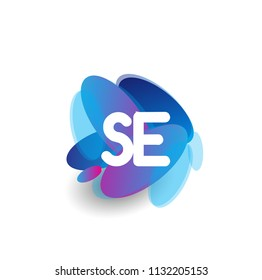 Letter SE logo with colorful splash background, letter combination logo design for creative industry, web, business and company.