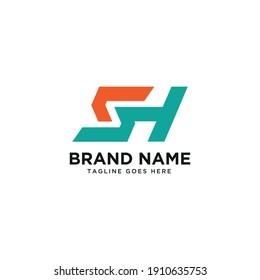 Letter SH S H HS logo minimal simple.