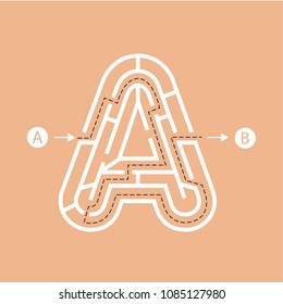 Letter A shape Maze Labyrinth, maze with one way to entrance and one way to exit. Flat design, vector illustration.